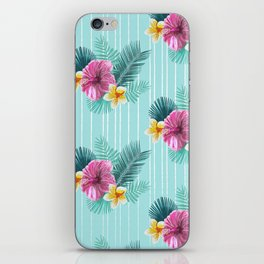 Cool blue base pink floral texture iPhone Skin