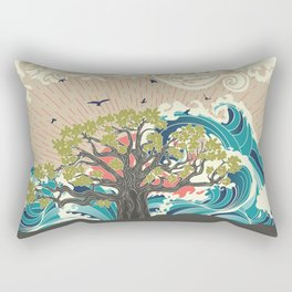 Stylized tree and stormy ocean or sea at sunset, art poster design Rectangular Pillow