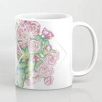 leah flores Mugs featuring Flores by Barlena