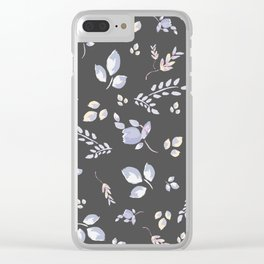 Spring watercolor leaves & tulips on dark grey background Clear iPhone Case