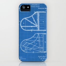 Steinway Grand Piano Patent - Piano Player Art - Blueprint iPhone Case