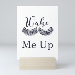 Wake Me Up Closed Sleeping Eyes Navy Blue Eyelashes Mini Art Print