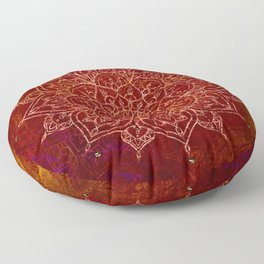 Rust Red Mandala Floor Pillow