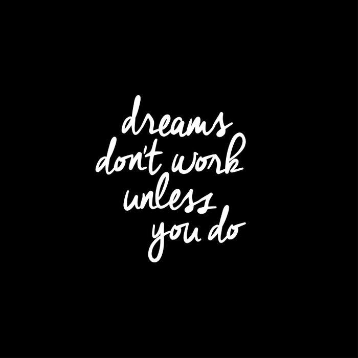 Dreams Don't Work Unless You Do black and white typography Inspirational quote Print home wall decor Duvet Cover