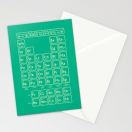 Periodic Table of Burger Elements - Green Stationery Cards