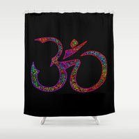 om Shower Curtains featuring OM by Tali Rachelle