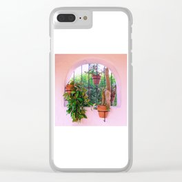 Potted Plants Behind Bars on Porch Clear iPhone Case