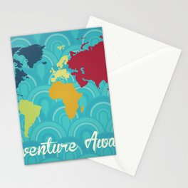 Adventure Awaits World Map Stationery Cards