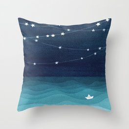 Garlands of stars, watercolor teal ocean Throw Pillow
