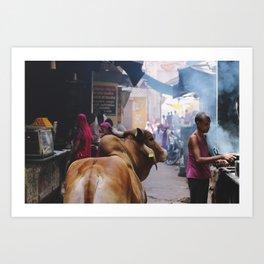 Street scene (Rajasthan, India) Art Print