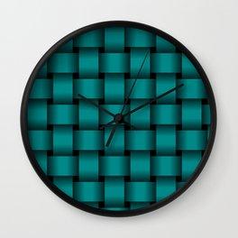 Large Dark Cyan Weave Wall Clock