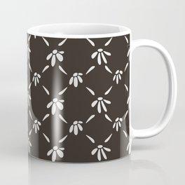 Floral Geometric Pattern Chocolate Brown Coffee Mug