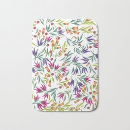 Seamless pattern with different wild flowers Bath Mat