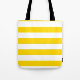 Horizontal Stripes - White and Gold Yellow Tote Bag