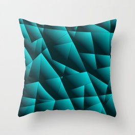 Dark overlapping sheets of light blue paper triangles. Throw Pillow