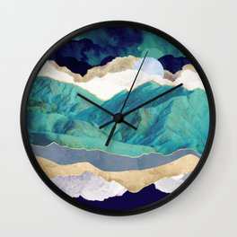 Teal Mountains Wall Clock