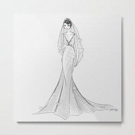 Pretty Bride in Mermaid Dress Metal Print