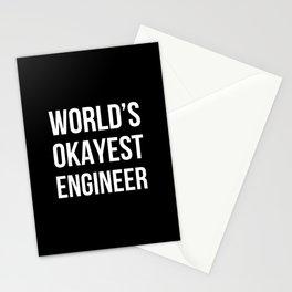 World's Okayest Engineer (Black) Stationery Cards