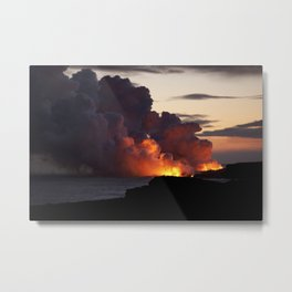 Lava Vaporizes Ocean Metal Print