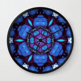 Digital Art Bue and Purple Kaleidoscope - Geometric Colorful Wall Clock