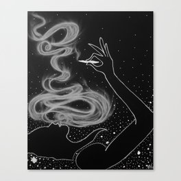 Midnight Toker (#3), Smoking Lady Series Canvas Print