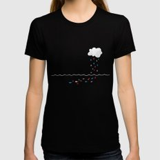 Droplets MEDIUM Black Womens Fitted Tee