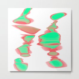 fuzzy red and green on white Metal Print