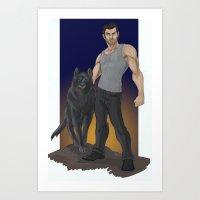 derek hale Art Prints featuring Derek Hale - Beta Blue by mianewarcher