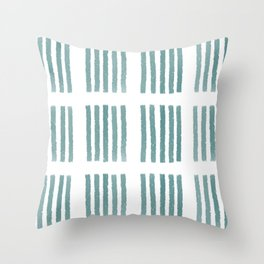 Stipes Pattern in Teal Throw Pillow