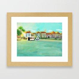 Bright Sunny Painterly Venice Canal  Framed Art Print