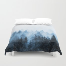 Misty Winter Forest Duvet Cover