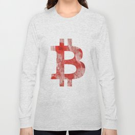 Bitcoin Red Pink streaked wash drawing Long Sleeve T-shirt