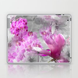 CHERRY BLOSSOMS ORCHIDS AND MAGNOLIA IMPRESSIONS IN PINK GRAY AND WHITE Laptop & iPad Skin