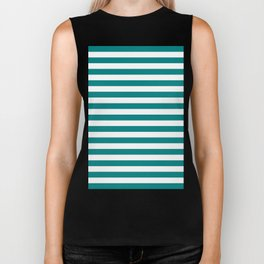 Horizontal Stripes (Teal/White) Biker Tank