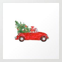 Christmas Car Art Print