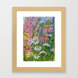 Floral Watercolor Garden Flowers Vibrant Colors Prints For Sale Framed Art Print