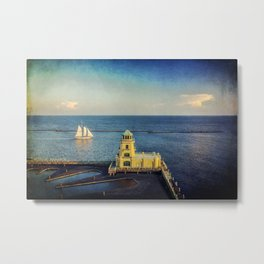 Biloxi Schooner and Lighthouse Metal Print