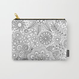 White Doodle Pattern Carry-All Pouch