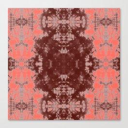 Living Coral Shibori Tye Dye Canvas Print