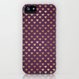Purple Golden Hearts iPhone Case