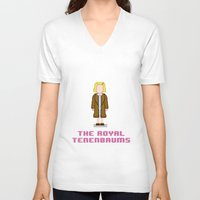 tenenbaum V-neck T-shirts featuring Margot Tenenbaum 8 bits by AlbaRicoque