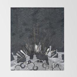 Silver Cityscape Throw Blanket