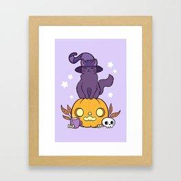 Pumpkin Cat Framed Art Print