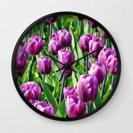 Purple Tulips Wall Clock