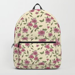 Botanical watercolor & ink pattern - pale yellow Backpack