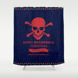 Rock and Roll Christmas Shower Curtain