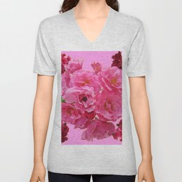 DECORATIVE FRILLY SCENTED PINK ROSE CLUSTERS ON PINK Unisex V-Neck