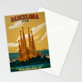 Vintage Barcelona, Spain Travel Lithographic Poster Advertisement Stationery Cards