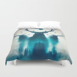 Deer Painting | Antlers | Forest | Moon | Occult | Vintage | Pine Trees Duvet Cover
