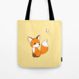 Cute Little Fox Watching Butterly Tote Bag